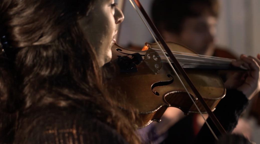 Mandhira from the Ligeti Quartetplaying the violin